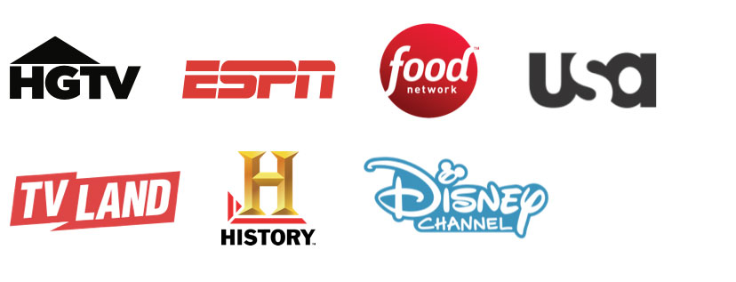 HGTV, ESPN, Food Network, USA, TV Land, History Channel, Disney Channel